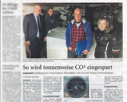 So wird tonnenweise CO2 eingespart - Quelle: NWZ Online von Hans-Carl Bokelmann